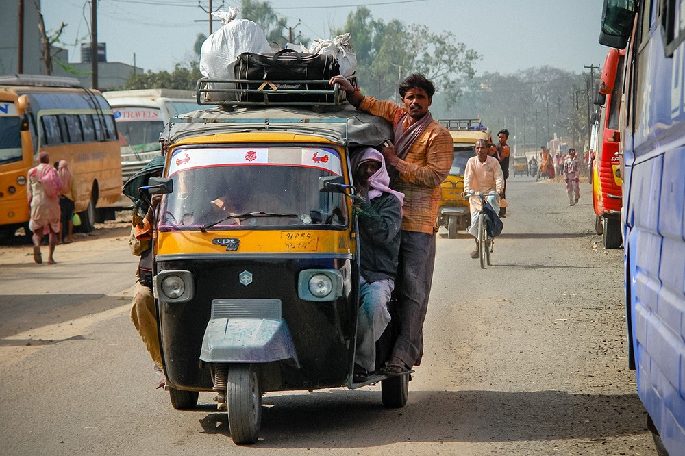 seat with a view: rickshaw in India