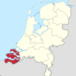 Map of Zeeland, the Netherlands