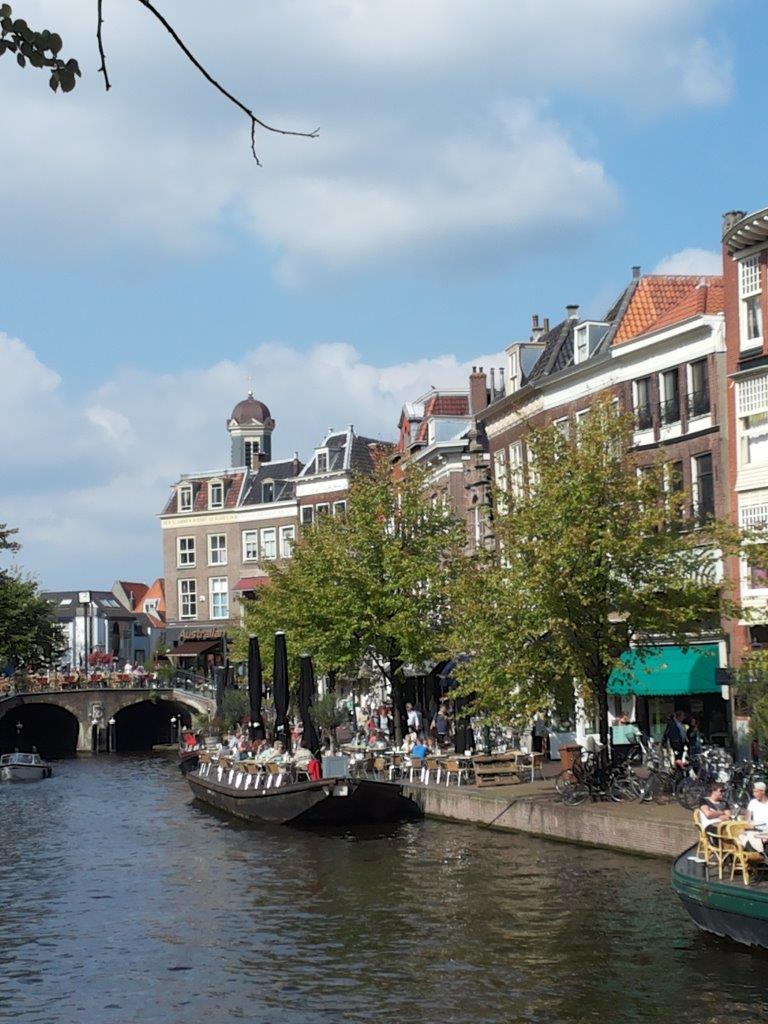 cafe terraces on boats on the canal, Leiden