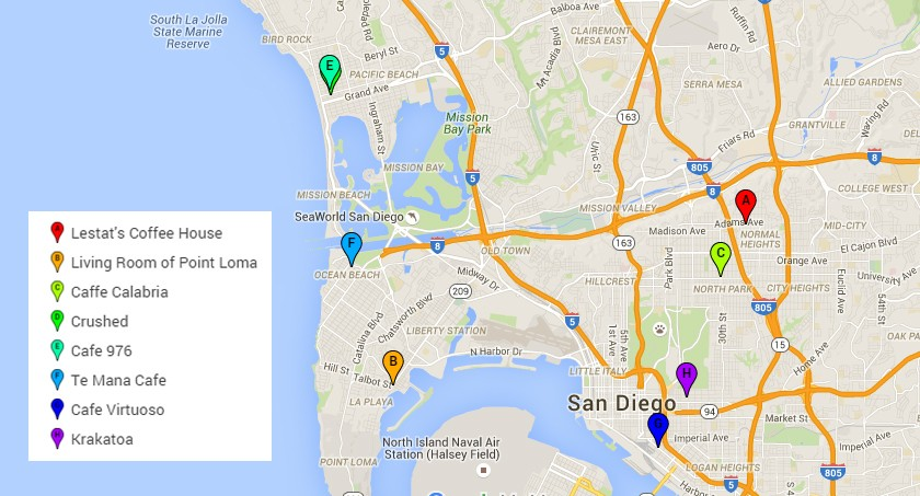 Map of the best coffee shops to study in San Diego or to work