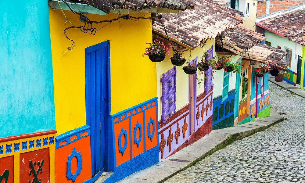 a colorful street in Colombia