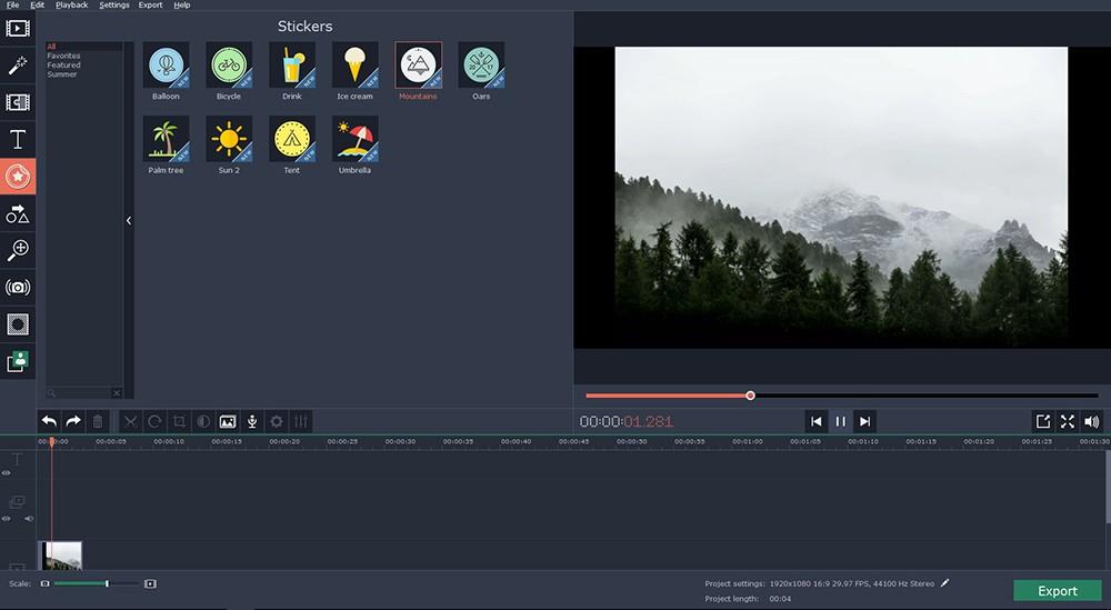 Movavi video editing tool to cut a video
