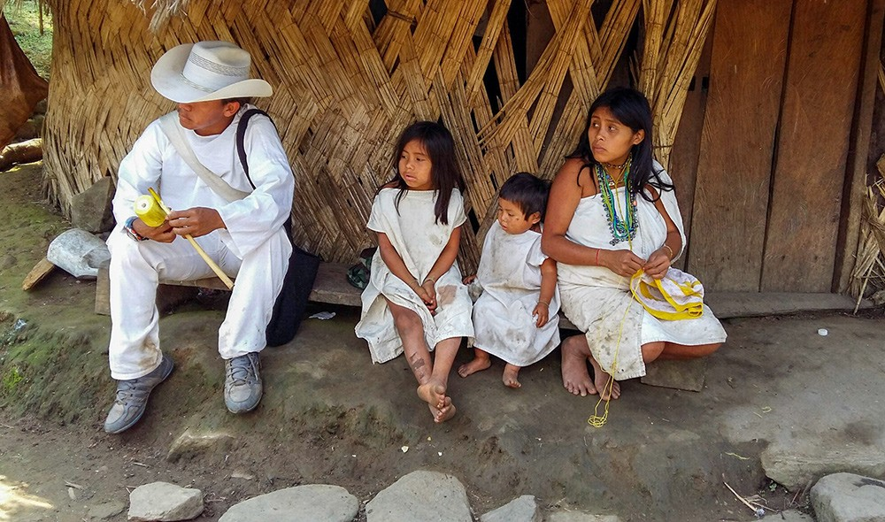 an indigenous family on the Lost City trek in Colombia