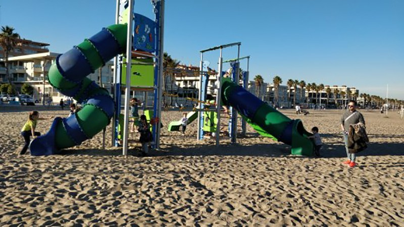 a playground for kids at Valencia's Patacona Beach