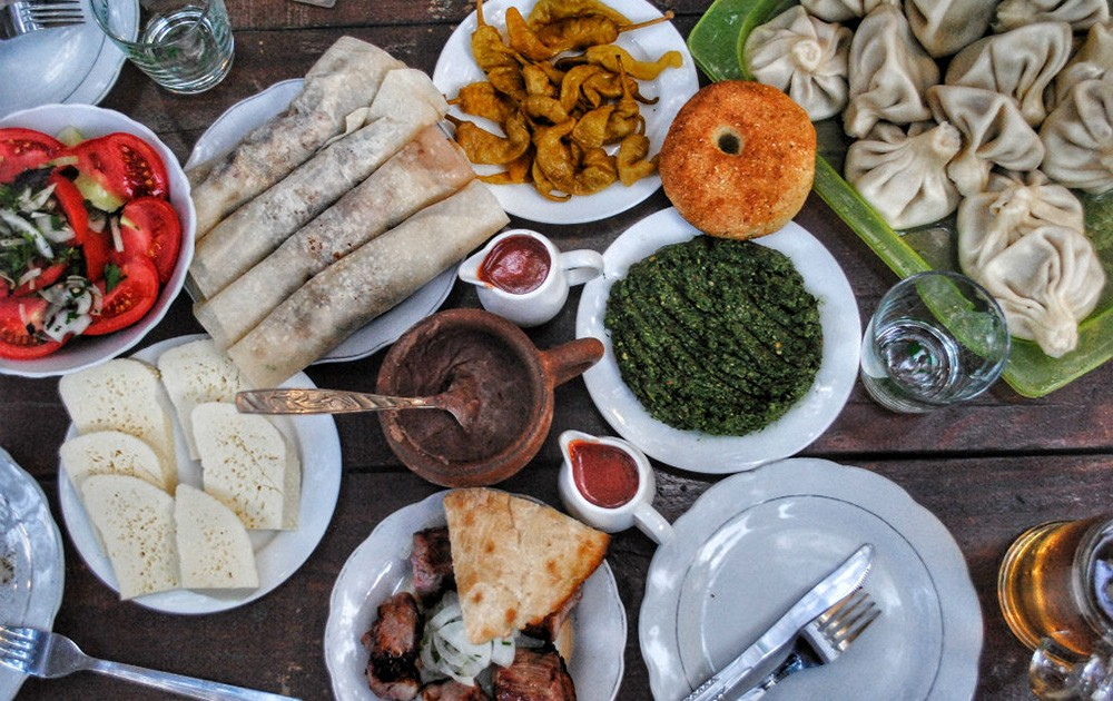a selection of local food in Georgia, Europe