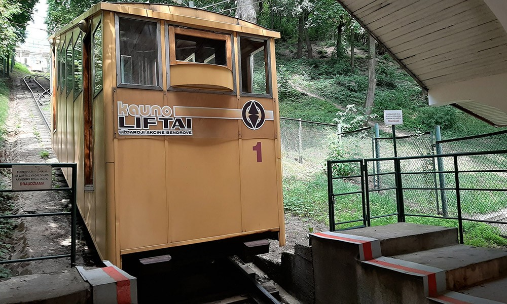 go on a funicular ride when visiting Kaunas