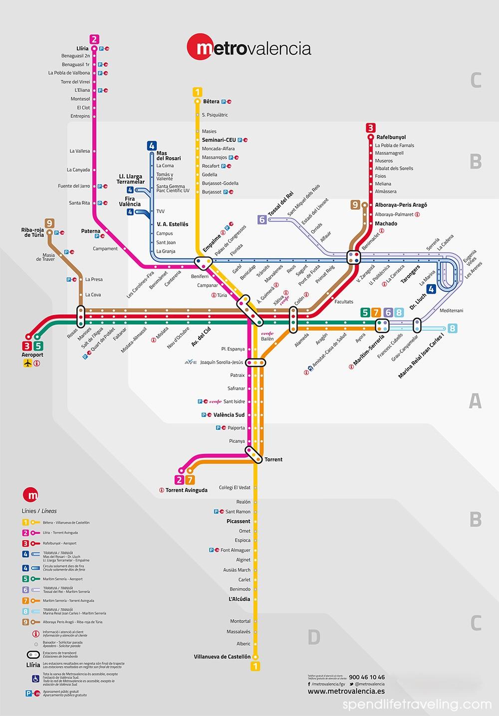 Valencia metro map