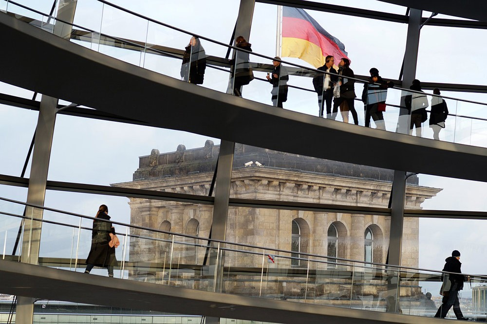 people in the Reichstag in Berlin