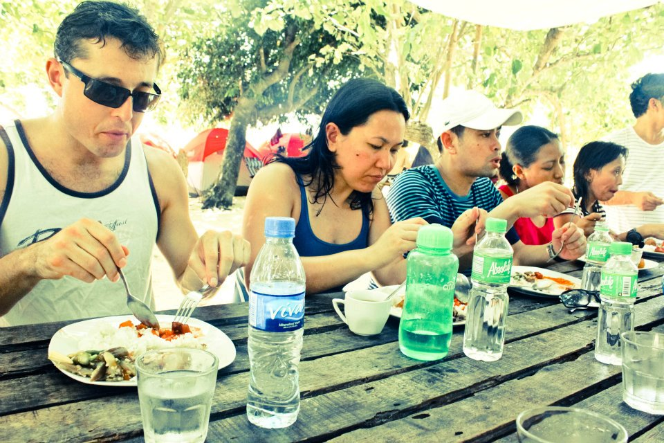 eating delicious food during the Calaguas island tour