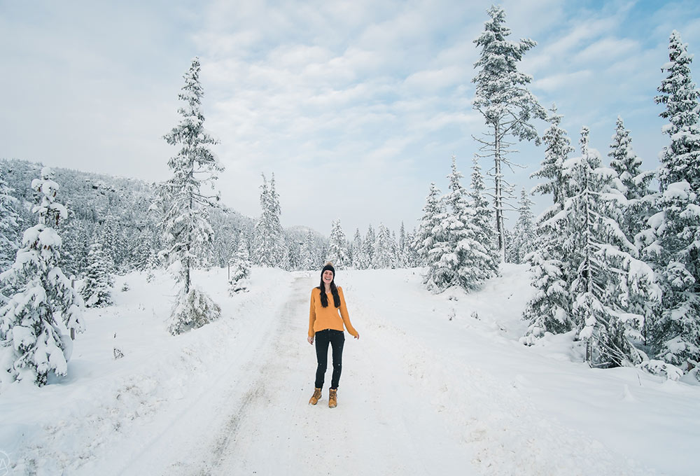 Aga in the snow