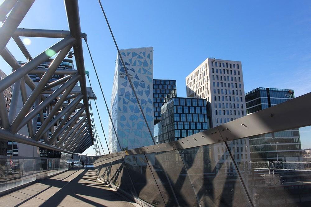 a modern bridge and skyscrapers