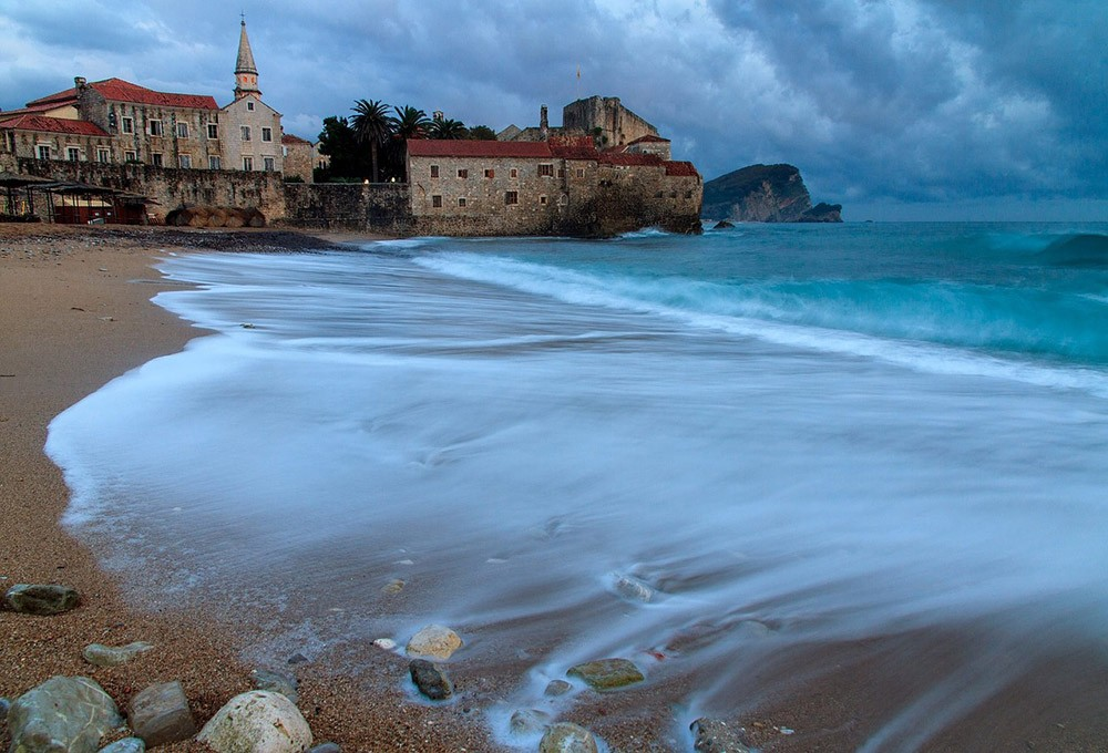 A view of Budva from the beach