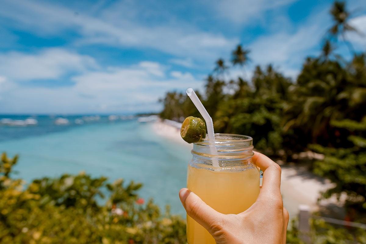 a cocktail on the beach