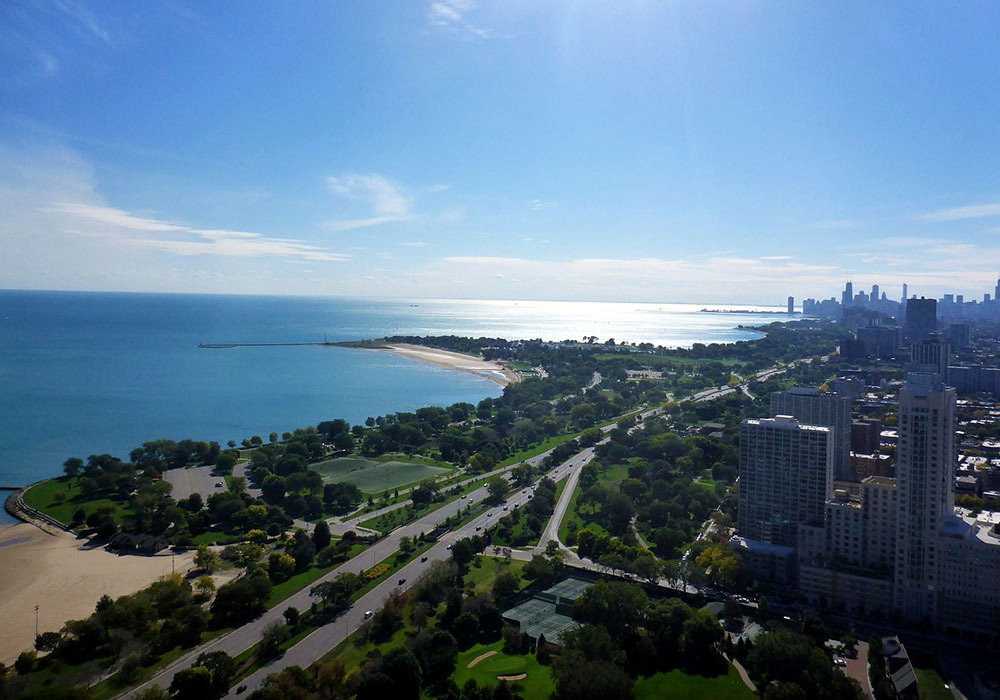 a view of Lake Michigan and the beaches