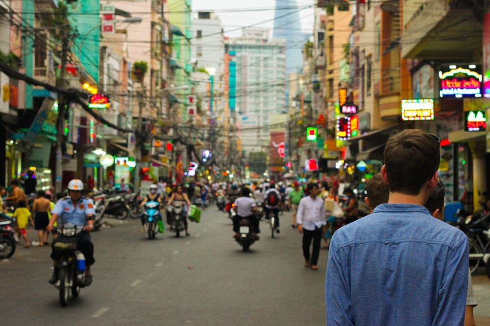 a busy street in Bangkok