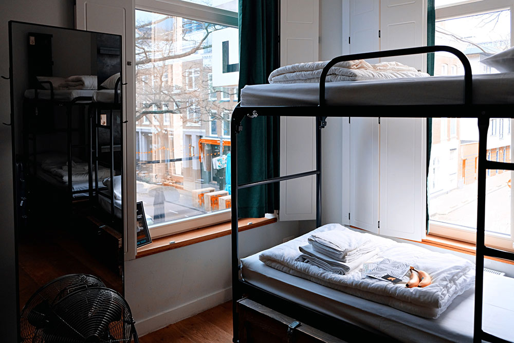 bunk beds in a hostel