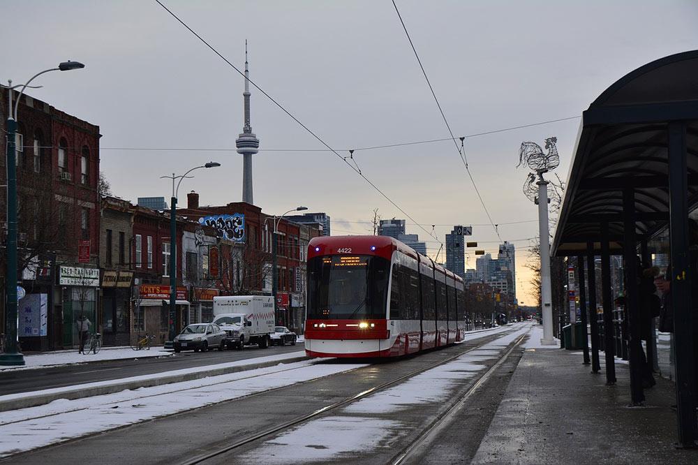 a tram in winter in Toronto