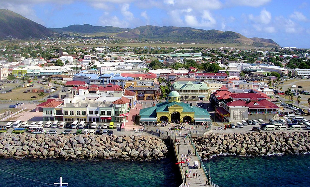a view of St Kitts from a cruise ship