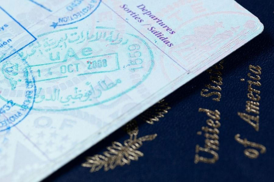 a passport and stamps