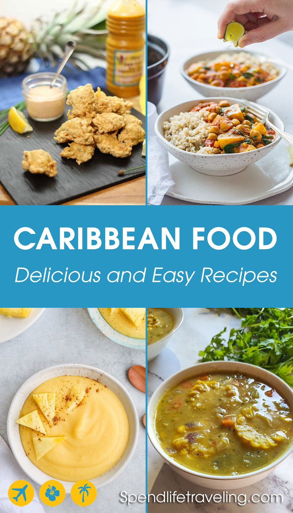 4 pictures of Caribbean food