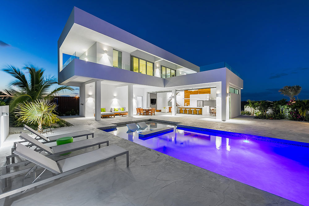a luxury villa on the Turks and Caicos Islands at night