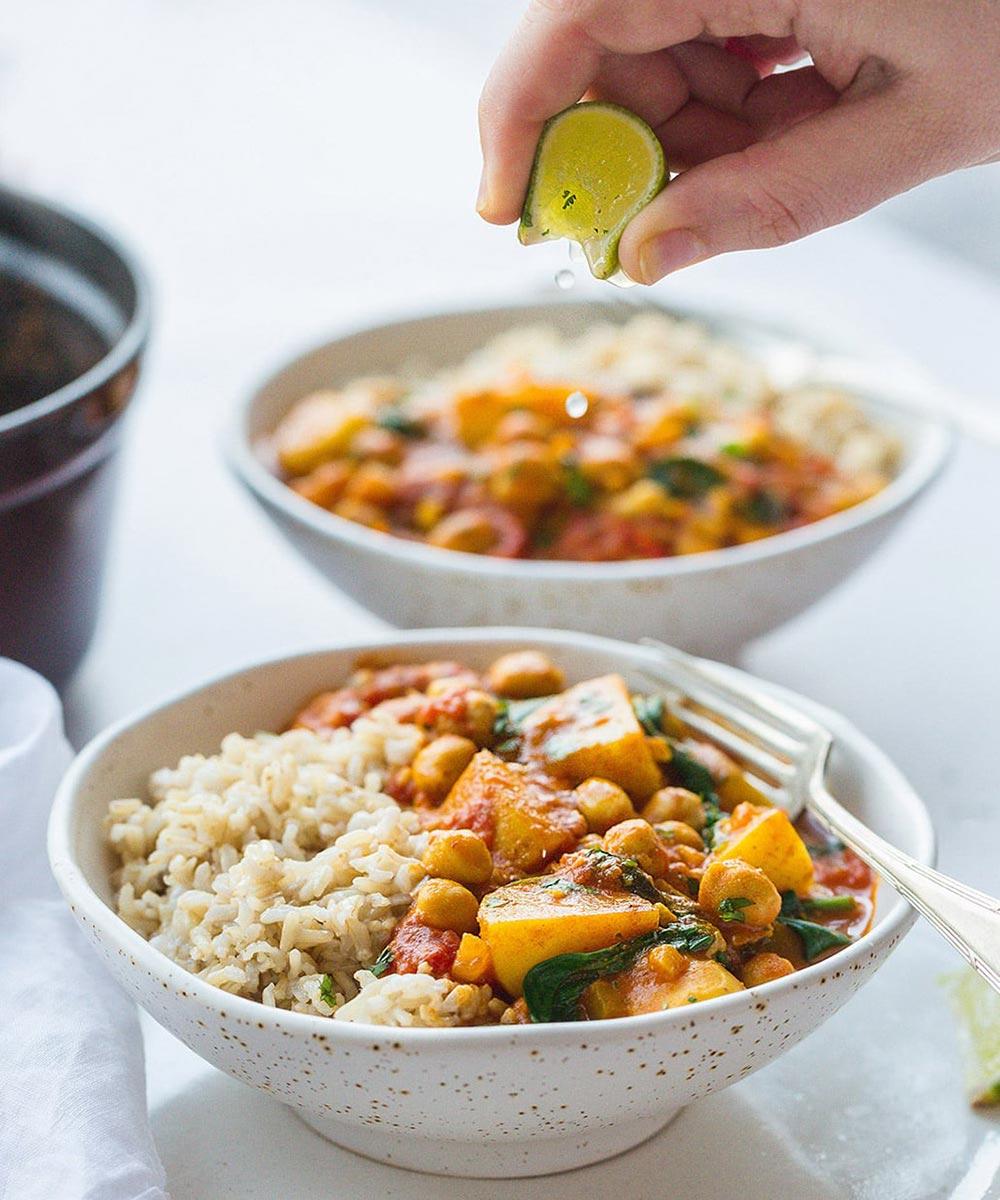 Caribbean chickpea and potato curry recipe