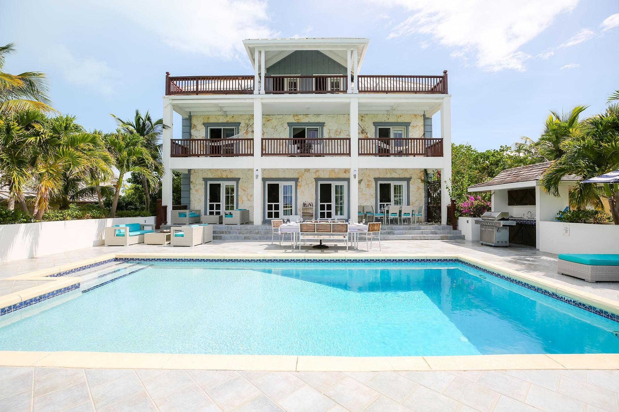 pool area of Villa Vieux Caribe in the Turks & Caicos