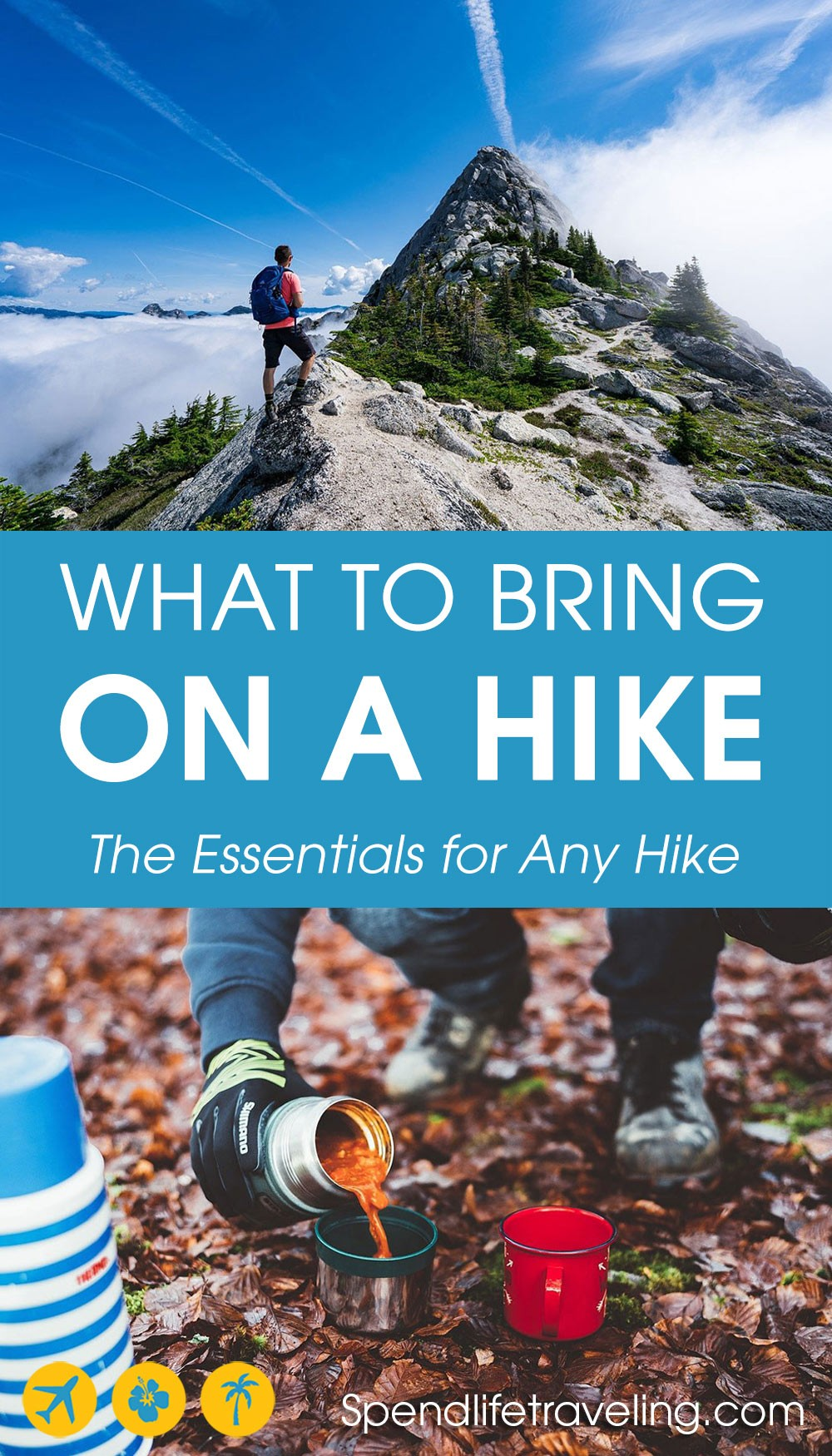 collage of what to bring on a hike