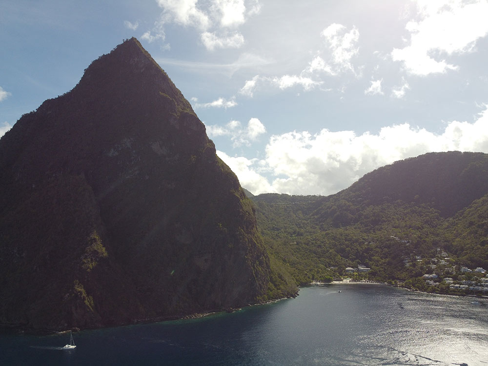 anchorage in between the Pitons