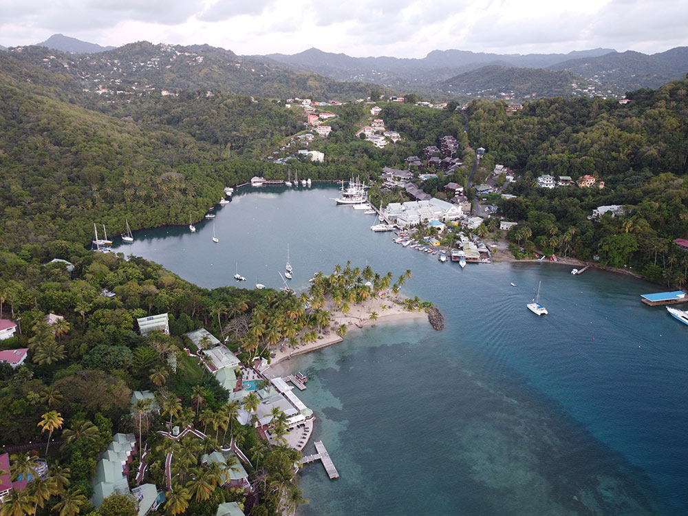 Marigot Bay with the marina in the background and anchorage in the foreground