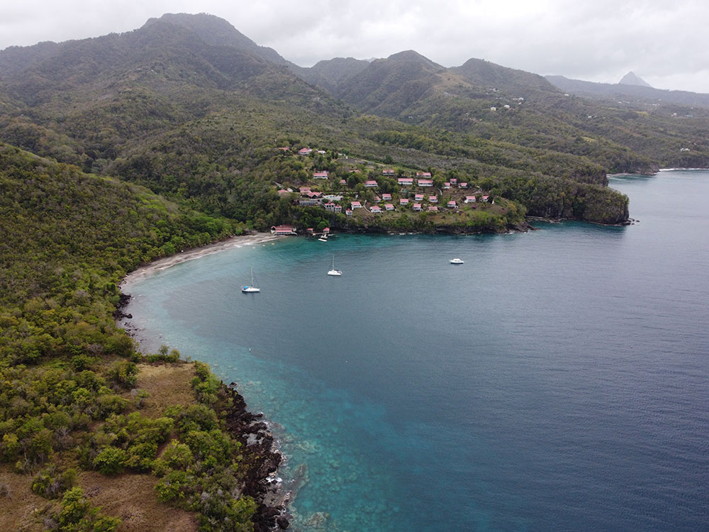 Anse Cochon anchorage from the air