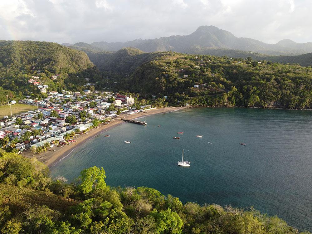 A view of anchoring at Anse la Raye