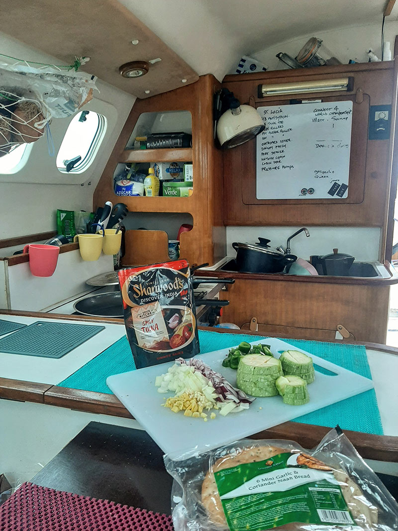 cooking while sailing across the Atlantic