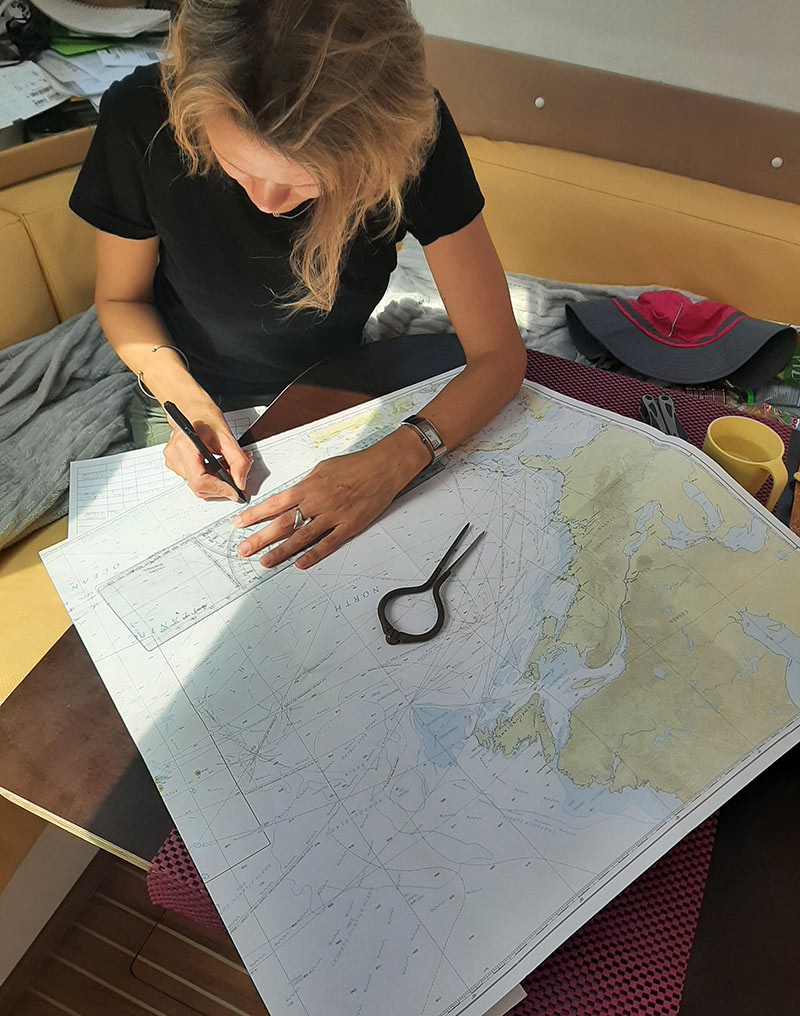 marking our course on a map