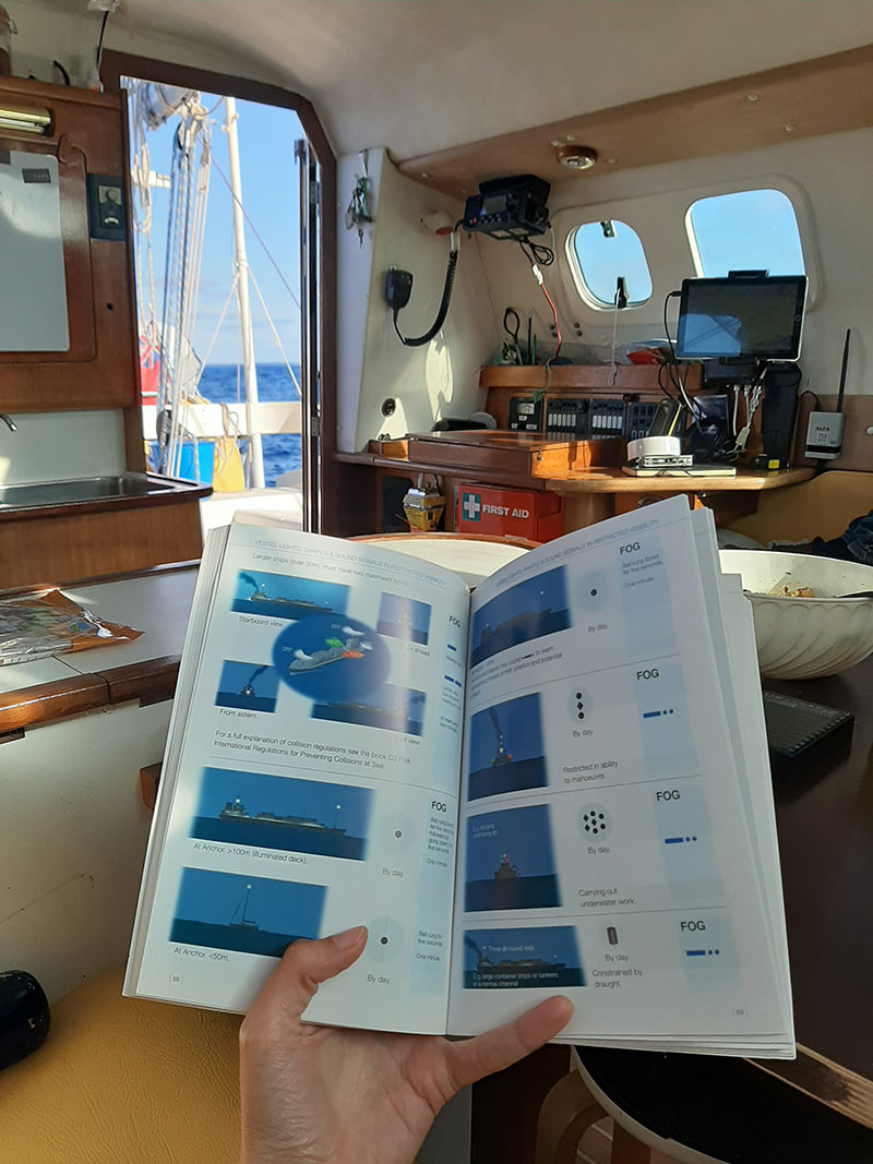 me reading a book while sailing the Atlantic