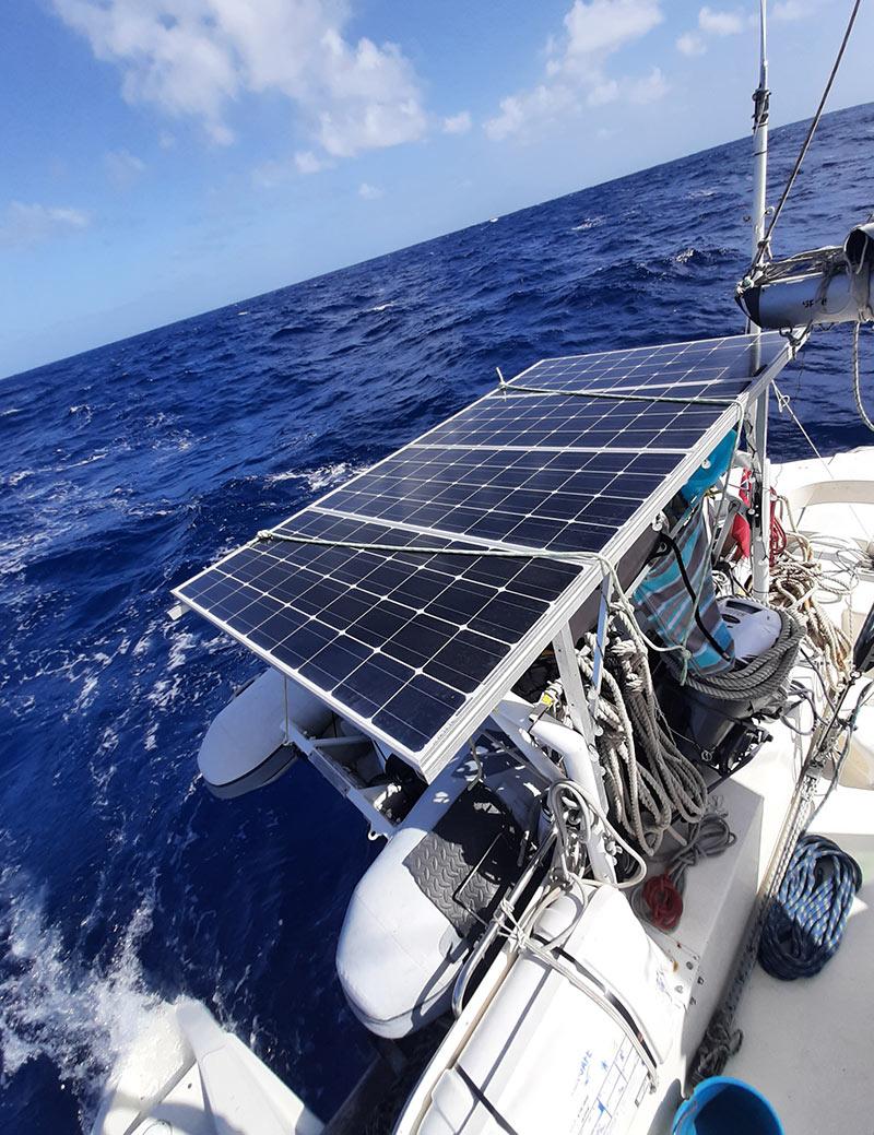 solar panels on our 36ft catamaran