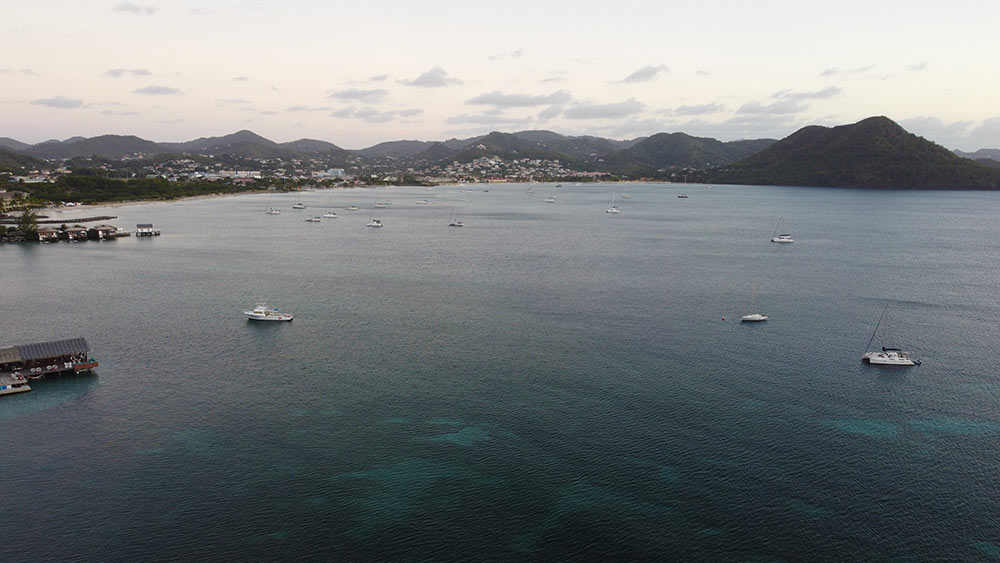 view towards the south side of Rodney Bay