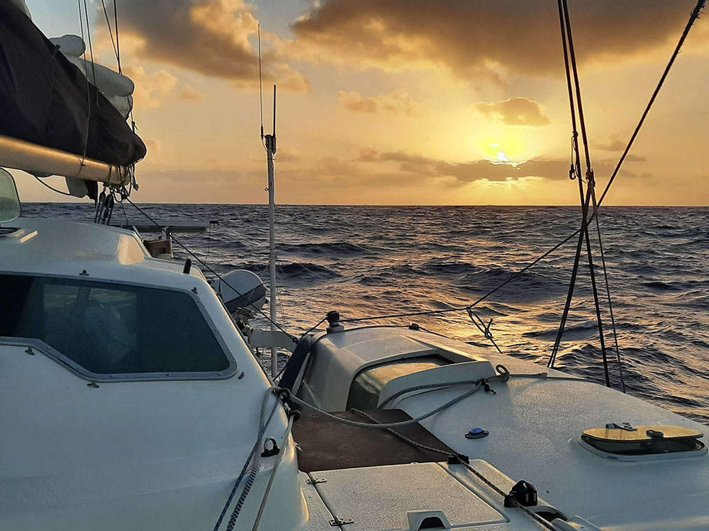 sunrise while sailing across the Atlantic