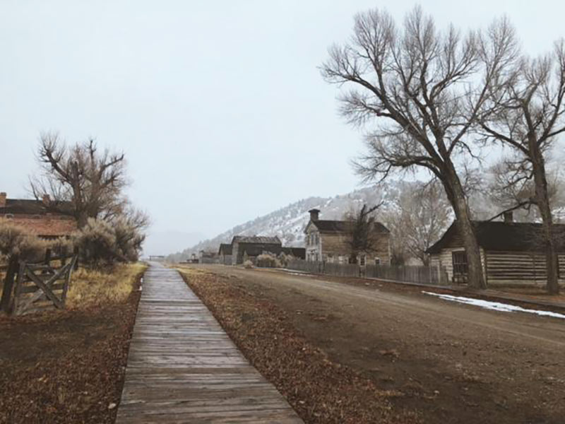 Main street view of Bannack, MT